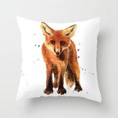 Watercolor FOX, FOX painting, animal art, watercolor animals, woodland nursery Throw Pillow