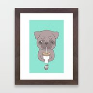 Pug, Coffee & Cupcake Framed Art Print