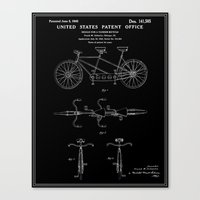 Tandem Bicycle Patent - Black Canvas Print