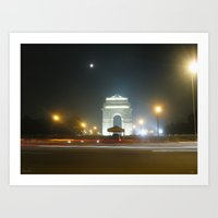 Rush Hour - India Gate Art Print