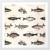Fishes In Geometrics (Re… Art Print