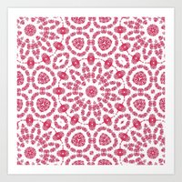 Ruby Mandala Tile 2 Art Print
