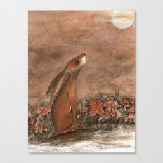 Hare and Moon Canvas Print