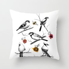BIRDS & FLOWERS Throw Pillow