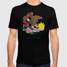 State flag of Illinois - Authentic color and scale SMALL Mens Fitted Tee Black
