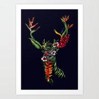 Tropical Deer Art Print