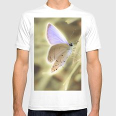 Purple Butterfly SMALL White Mens Fitted Tee