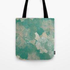 Teal Green Floral Hues Tote Bag