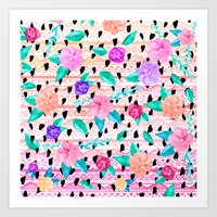 Modern flower watercolor hand drawn aztec  pattern Art Print