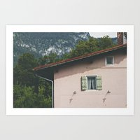 Pink Alpine House Art Print