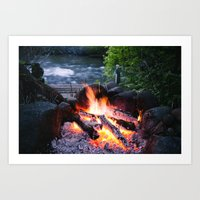River & Fire Art Print