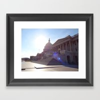 The State House With Fla… Framed Art Print