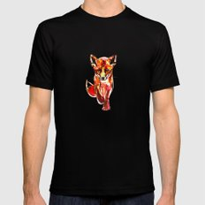 Cute Little Red Fox water colour ink SMALL Black Mens Fitted Tee