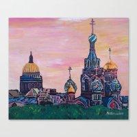 Saint Petersburg with golden couples Canvas Print