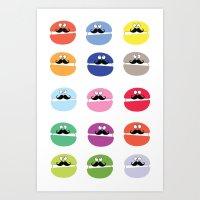 mustache macarons Art Print