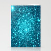turquoise Stationery Cards featuring Turquoise Teal Sparkle Stars by WhimsyRomance&Fun