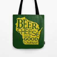 Green and Gold Beer, Cheese and Good Company Wisconsin Tote Bag
