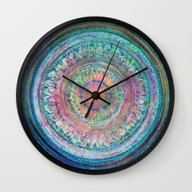 Pink And Turquoise Manda… Wall Clock