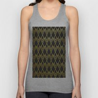 Art Deco Diamond Teardop - Black & Gold Unisex Tank Top