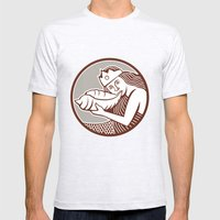 Mermaid Blowing Conch Shell Circle Retro Mens Fitted Tee Ash Grey SMALL