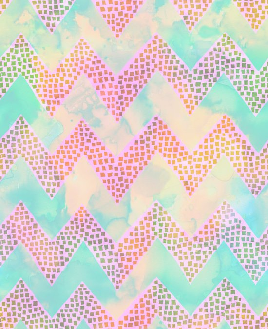 Little Squares Chevron - Pastel Art Print