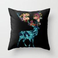 Sprint Itself Deer Floral Dark Throw Pillow