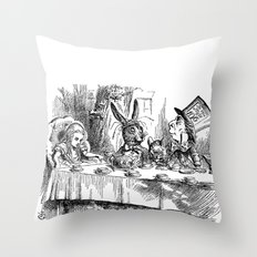 Vintage Alice in Wonderland Mad Hatter & rabbit tea party antique goth emo book gothic drawing print Throw Pillow