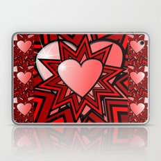 Pink Heart With Red Abst… Laptop & iPad Skin