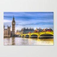 Westminster Bridge And B… Canvas Print