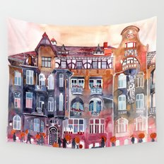 Apartment House in Poznan and orange umbrellas Wall Tapestry