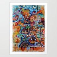 7 Jerusalem owls Art Print