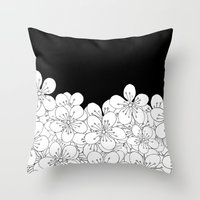 Cherry Blossom Boarder Throw Pillow