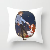 Little Amelia And Her Ra… Throw Pillow