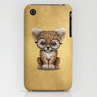 iPhone Cases featuring Cute Baby Leopard Cub Wearing Glasses on Yellow by Jeff Bartels