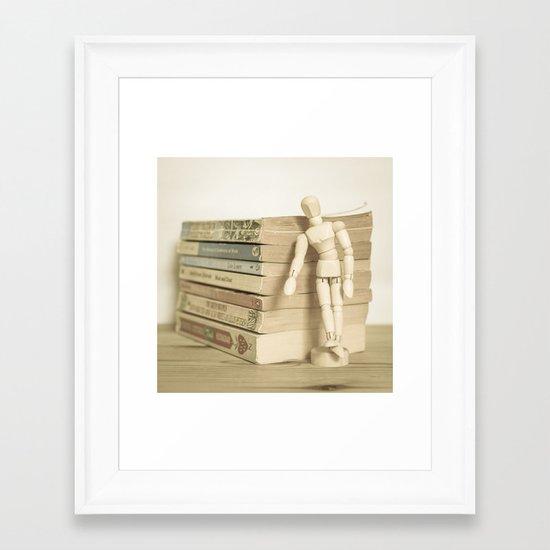 Little man books Framed Art Print