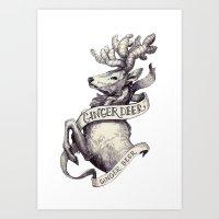 Ginger Deer Art Print
