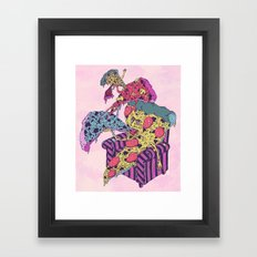Pizza Eating Pizza - Pink Edition Framed Art Print