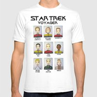STAR TREK VOYAGER  Mens Fitted Tee White SMALL