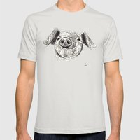Baby Animals - Pig Mens Fitted Tee Silver SMALL