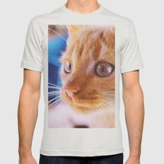 Orange cat Mens Fitted Tee Silver SMALL