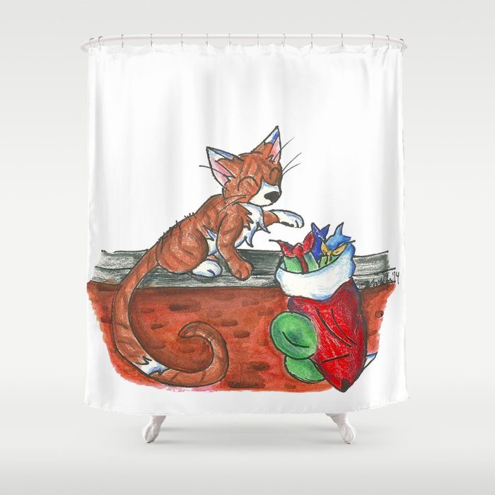 Catnip Christmas Shower Curtain By KristenOKeefeArt