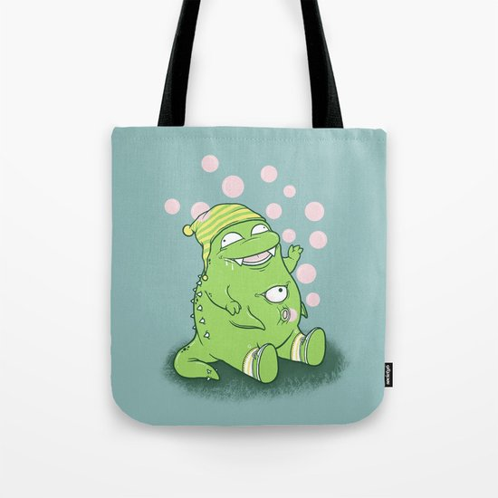 Happy Green Monster Tote Bag