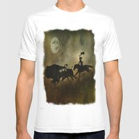 Night Hunter Mens Fitted Tee White SMALL