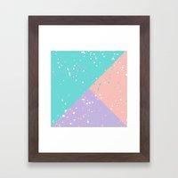 Trendy pastel pink teal purple color block splatters Framed Art Print
