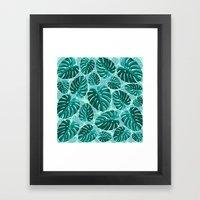 Tropical Leaf Monstera Pattern  Framed Art Print