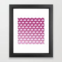 Elephants In Love (Pink) Framed Art Print