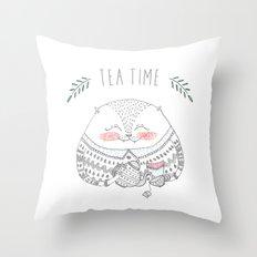 tea time cat Throw Pillow