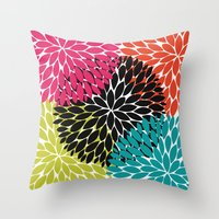 Big Tropical Flowers Throw Pillow