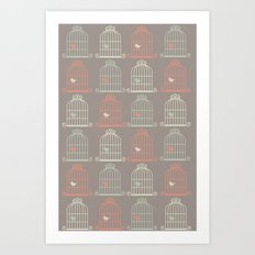 Bird Cage Pattern, Illustration, Shabby Chic, Vintage, Art Print