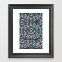Stained Glass Tile Framed Art Print